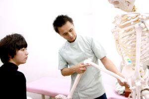 骨模型で説明する様子